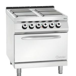 4-płytowa kuchnia elektryczna z piekarnikiem elektrycznym 2/1 GN szer. 800 x gł. 900 x, 21,6 kW, 900 MASTER Bartscher