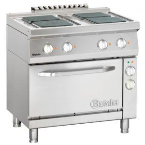 4-płytowa kuchnia elektryczna z czworokątnymi płytami grzewczymi i piekarnikiem elektrycznym z termoobiegiem 1/1 GN szer. 800 x gł. 700 x wys. 850-900 mm, 700 CLASSIC Bartscher