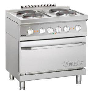 4-płytowa kuchnia elektryczna z piekarnikiem elektrycznym z termoobiegiem 1/1 GN szer. 800 x gł. 700 x wys. 850-900 mm, 700 CLASSIC Bartscher