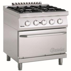 4-palnikowa kuchnia gazowa z piekarnikiem elektrycznym 2/1 GN szer. 800 x gł. 700 x wys. 850-900 mm, 700 CLASSIC Bartscher