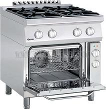 4-palnikowa kuchnia gazowa z piekarnikiem elektrycznym z termoobiegiem 1/1 GN szer. 800 x gł. 700 x wys. 850-900 mm, 700 CLASSIC Bartscher